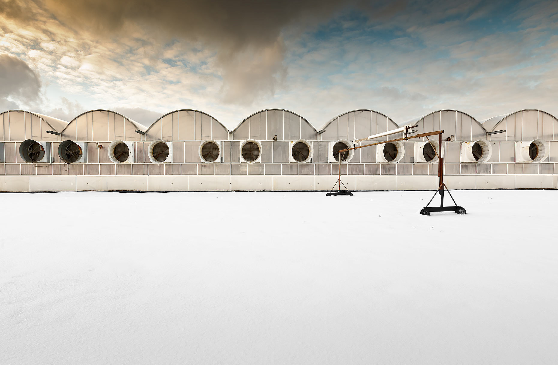 Ventilation fans outside greenhouses in winter |  Scott Gable industrial photographer