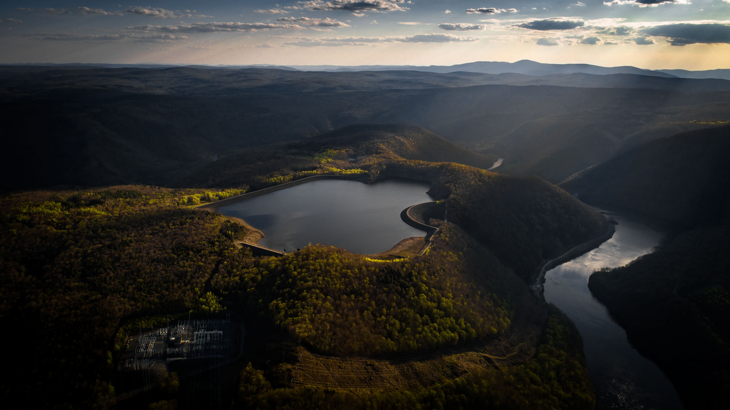 Aerial view of Bear Swamp Reservoir | Scott Gable industrial photographer