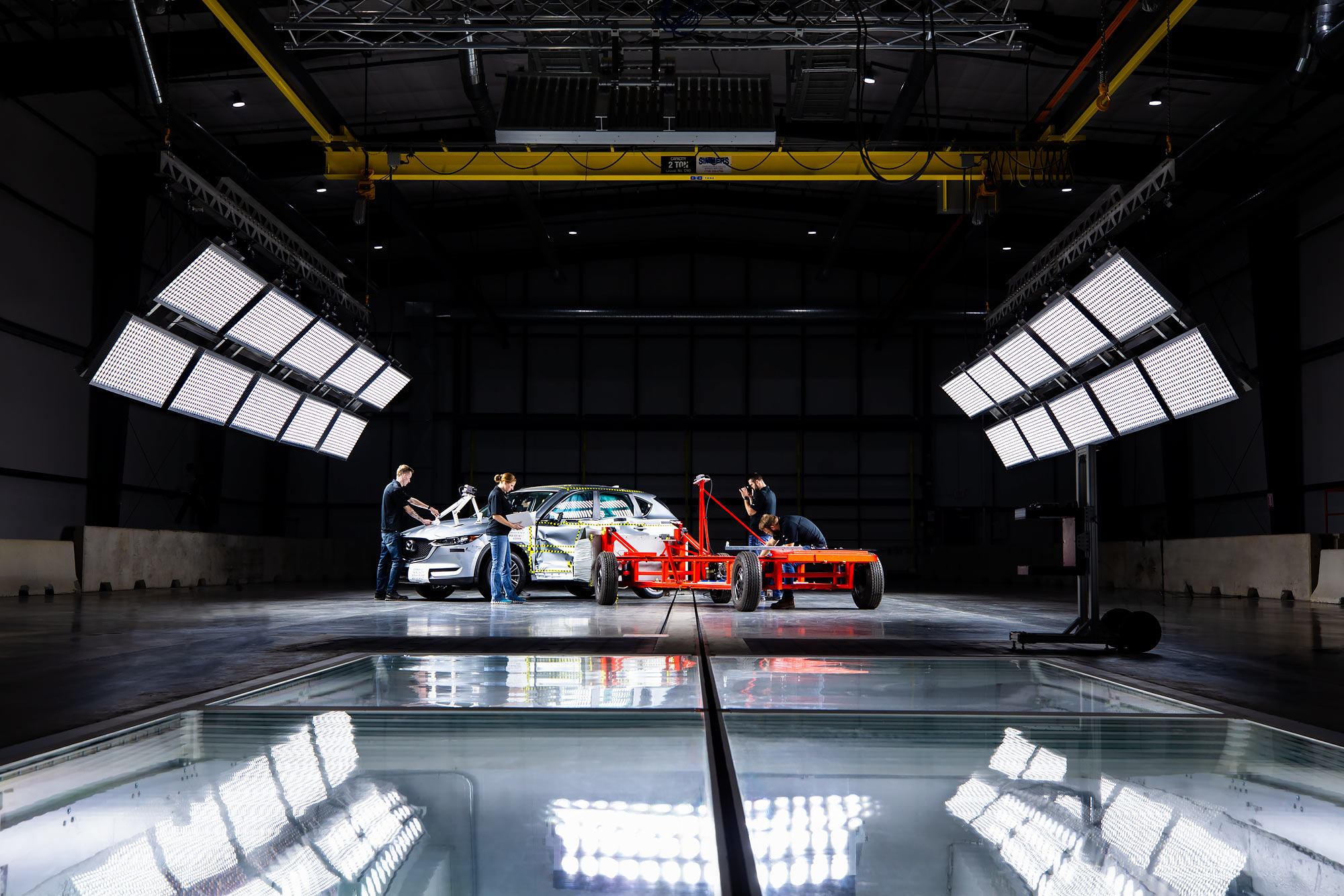 Technicians measure results of an automotive crash test |  Scott Gable industrial photographer