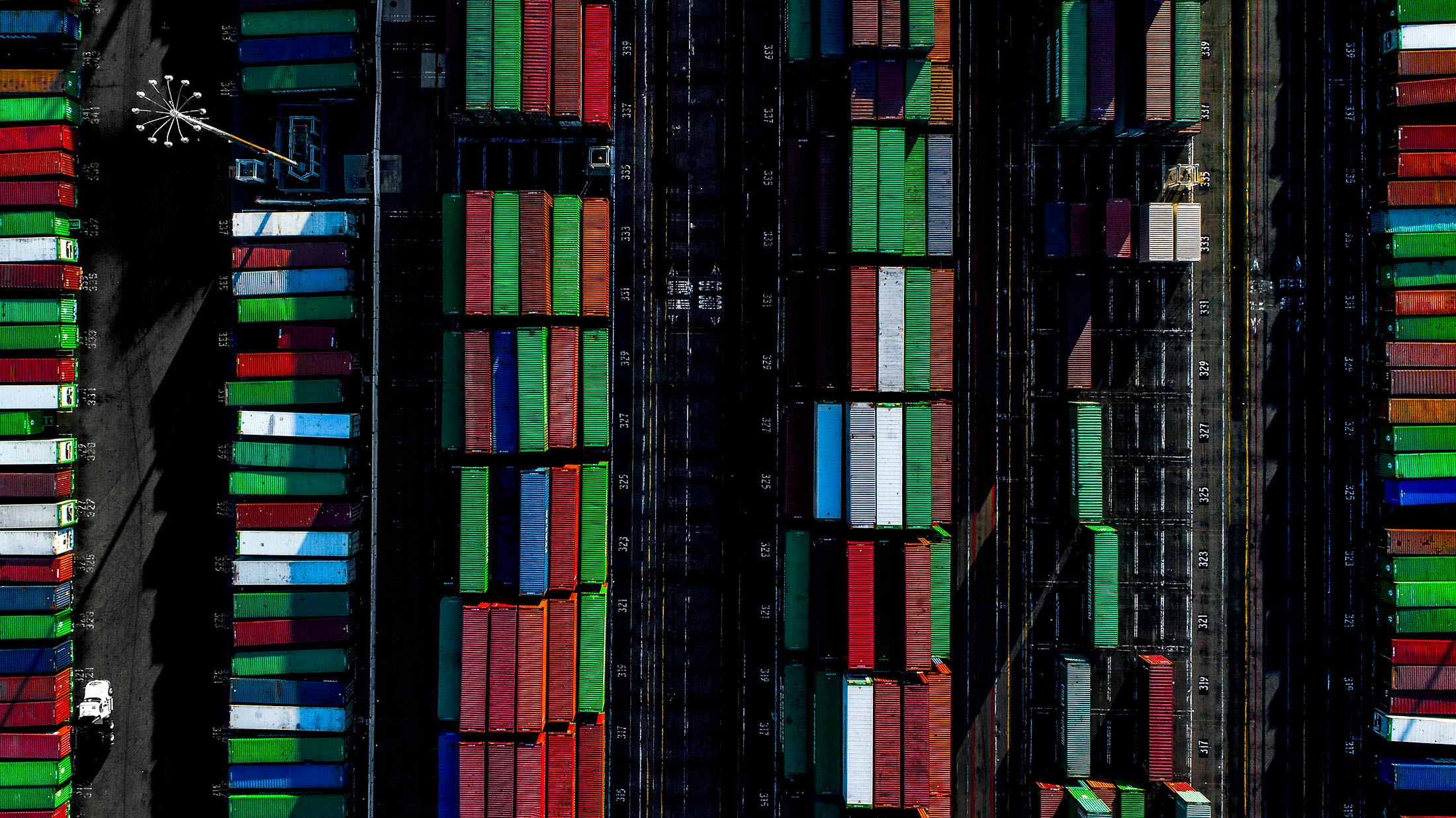 Aerial view of multicolored shipping containers in the Port of Long Beach | Scott Gable industrial photographer