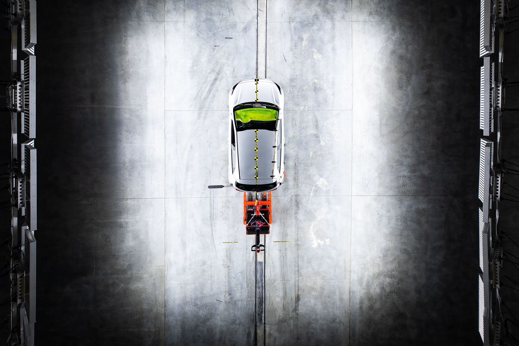 Aerial view of a car ready for a crash test |  Scott Gable industrial photographer