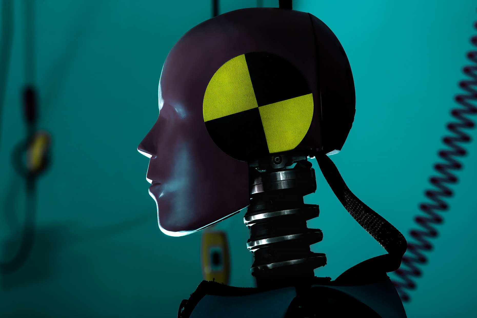 Closeup of a crash test robot head in profile Calspan |  Scott Gable industrial photographer