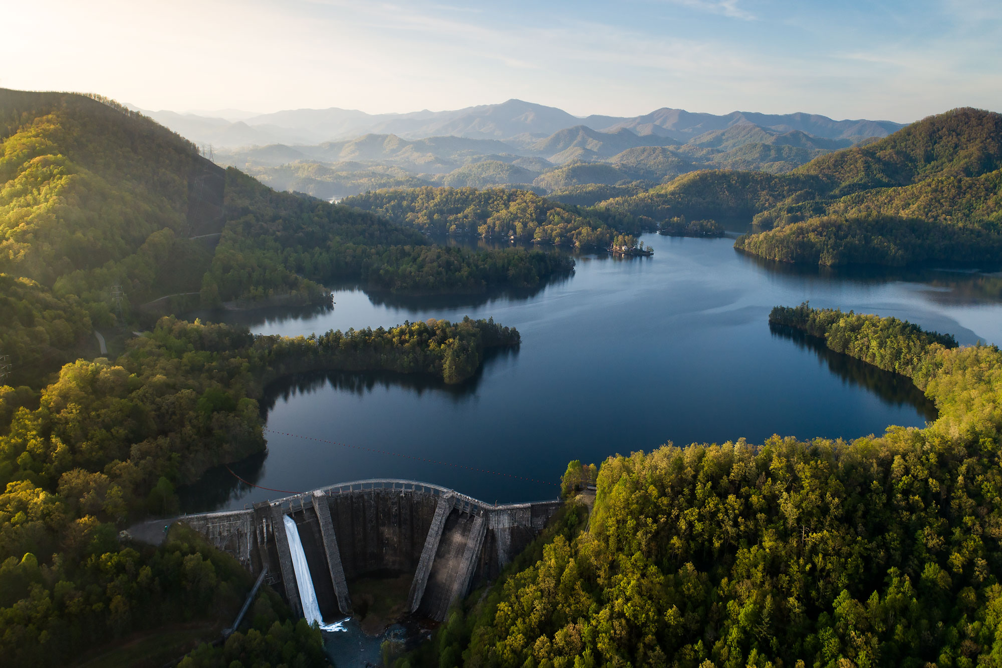 Aerial view of hydroelectric dam and reservoir |  Scott Gable industrial photographer