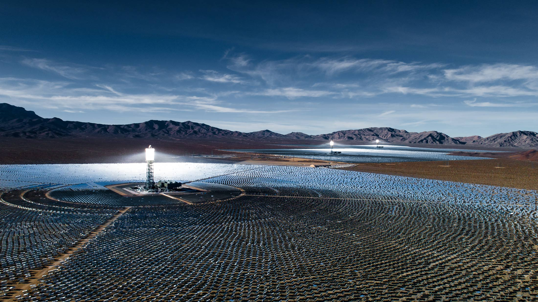 Aerial view of Ivanpah Solar Electric Generating System | Scott Gable industrial photographer