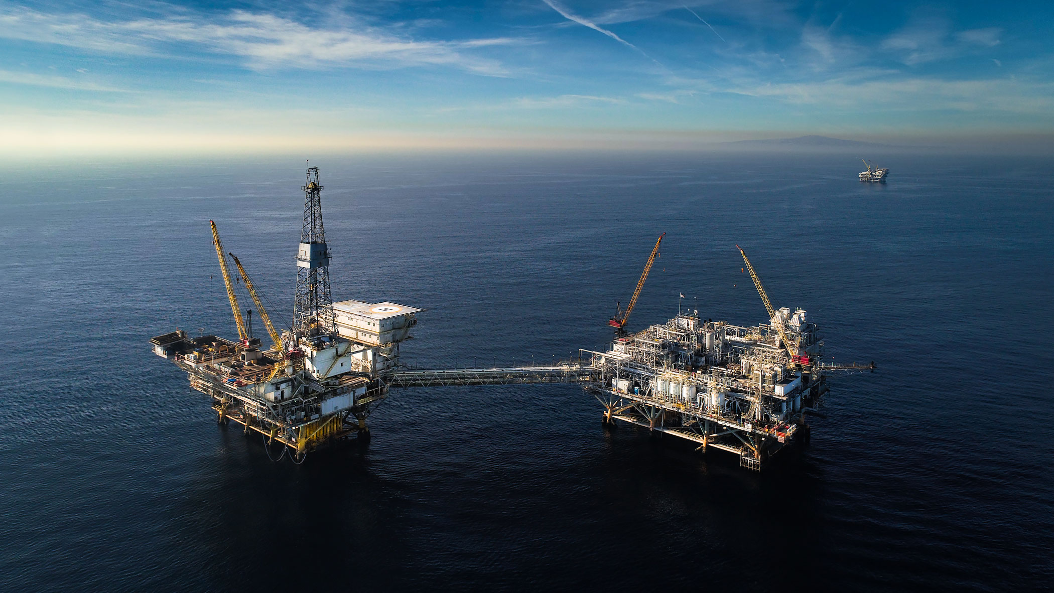 Aerial view of an offshore oil platform | Scott Gable industrial photographer