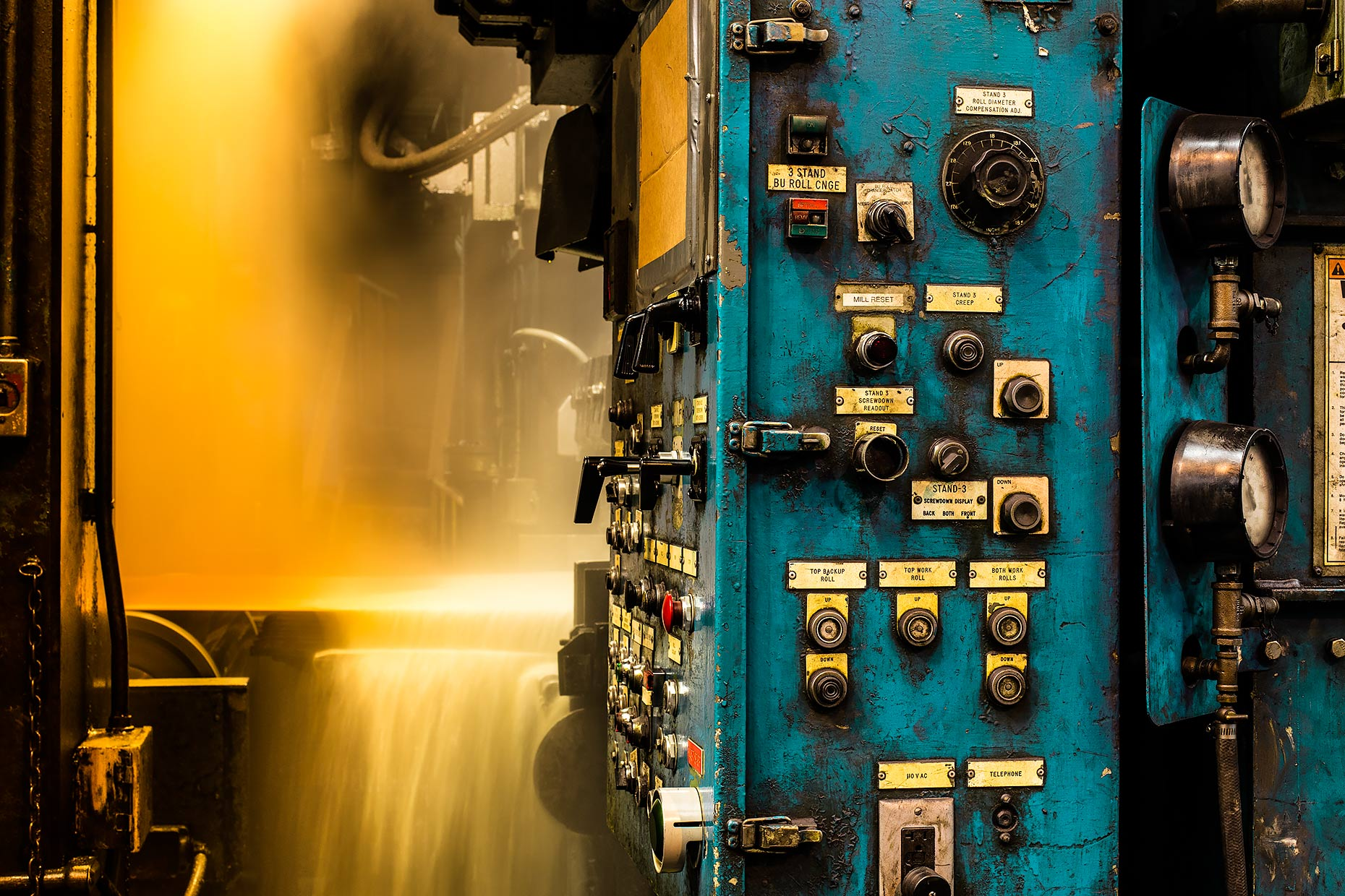 Control panel for hot rolling metal press |  Scott Gable industrial photographer