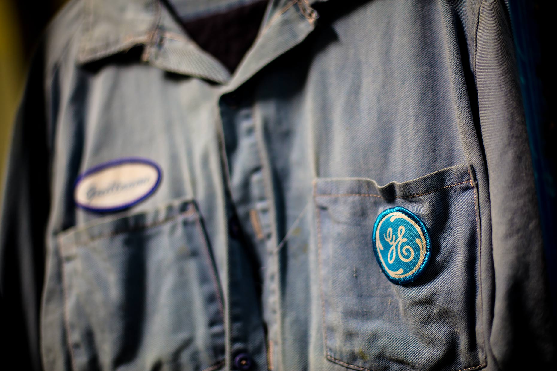 A GE uniform hangs on a hanger |  Scott Gable industrial photographer