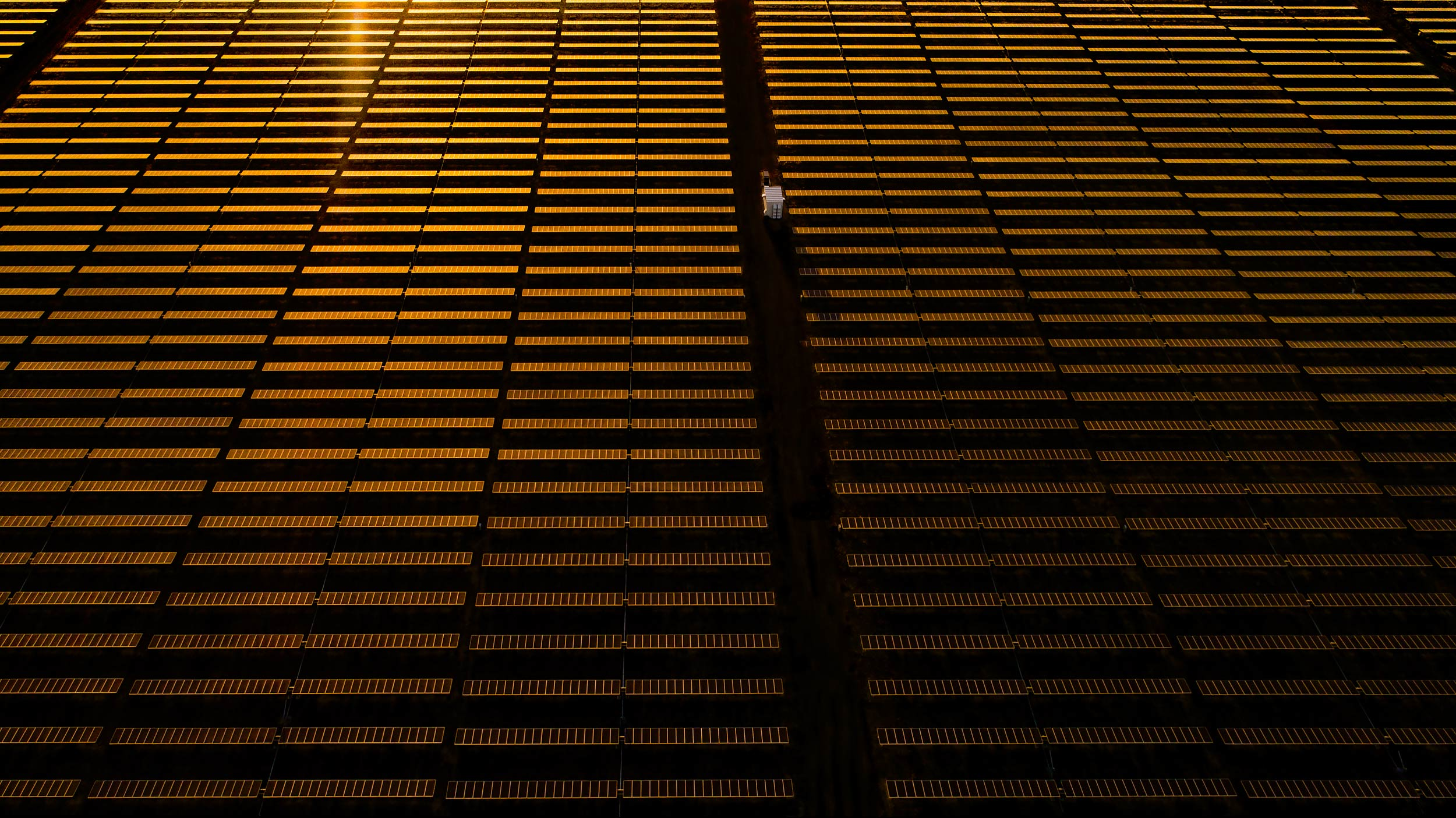 Aerial view of a solar array at sunrise | Scott Gable industrial photographer