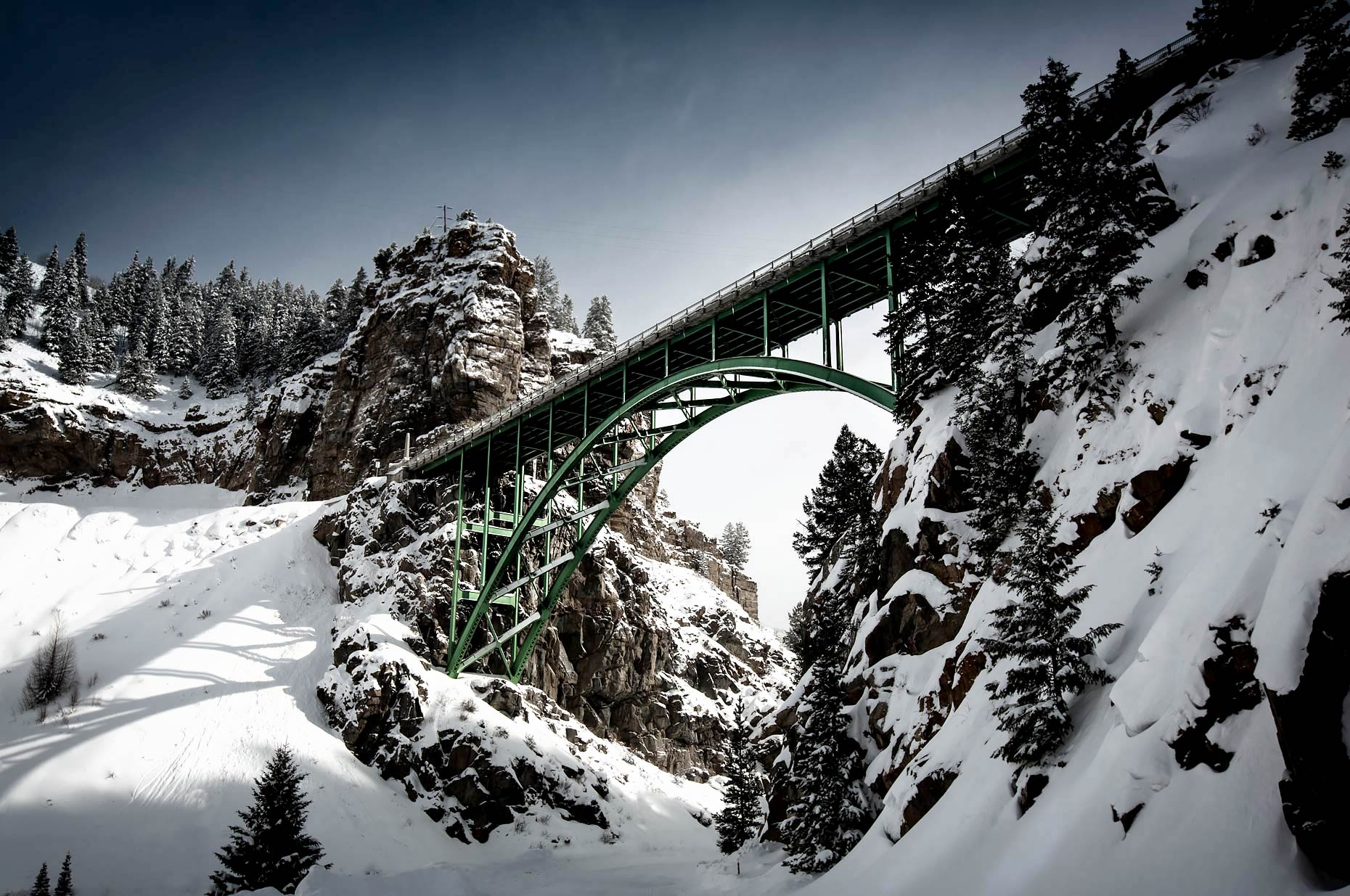 View from beneath Snake River arch bridge in winter |  Scott Gable industrial photographer