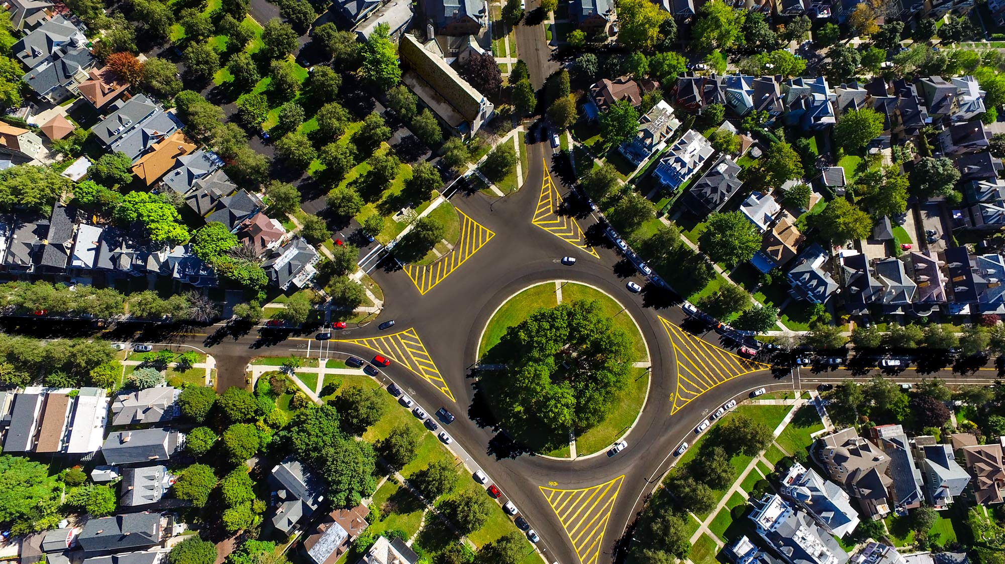 Aerial view of an urban traffic circle and parkways | Scott Gable industrial photographer