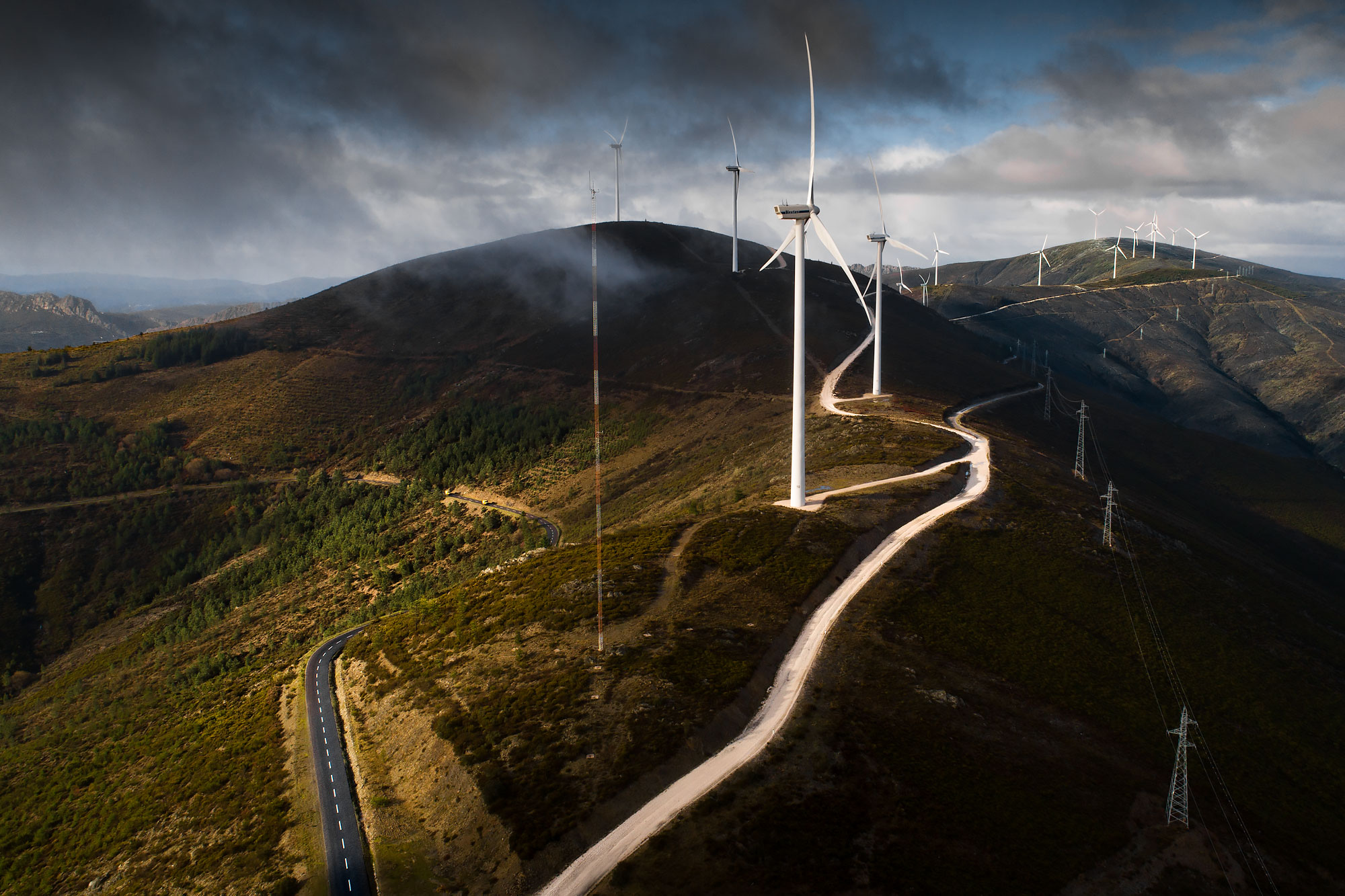 Aerial view of a row of wind turbines along a mountain ridge | Scott Gable industrial photographer