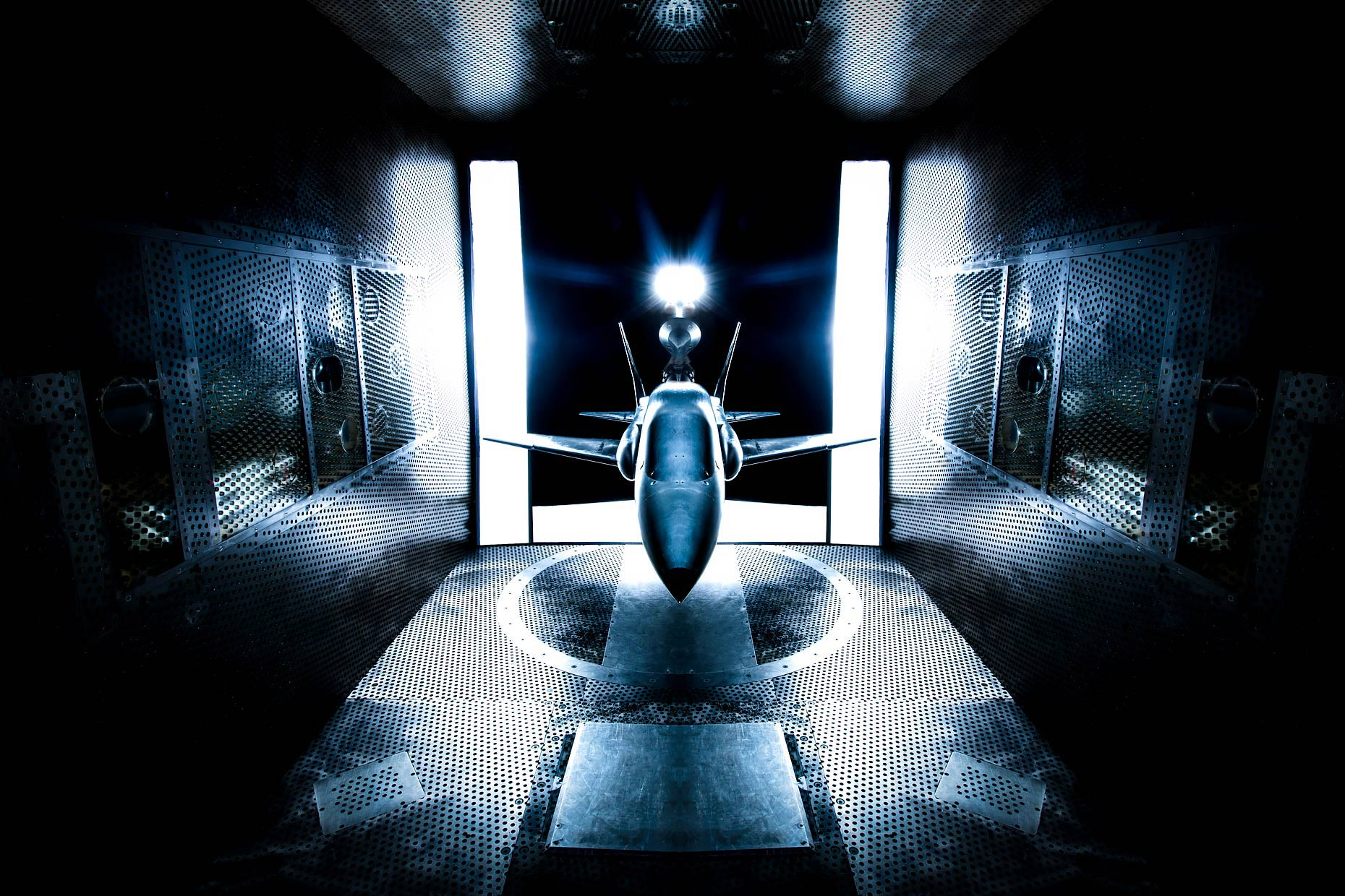 Aircraft model is tested in wind tunnel | Scott Gable industrial photographer