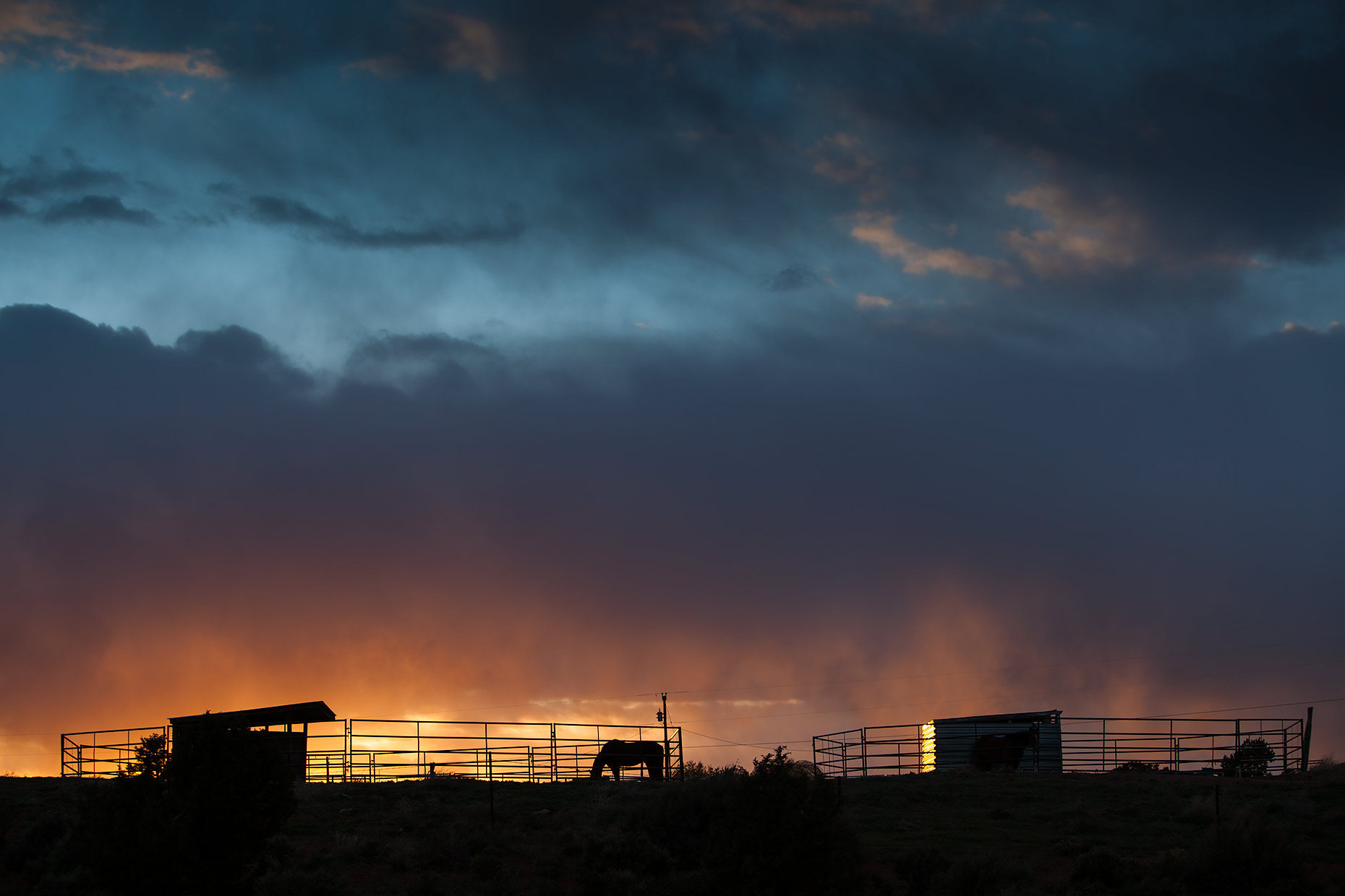 Silhouette of a horse in corral at sunset |  Scott Gable industrial photographer