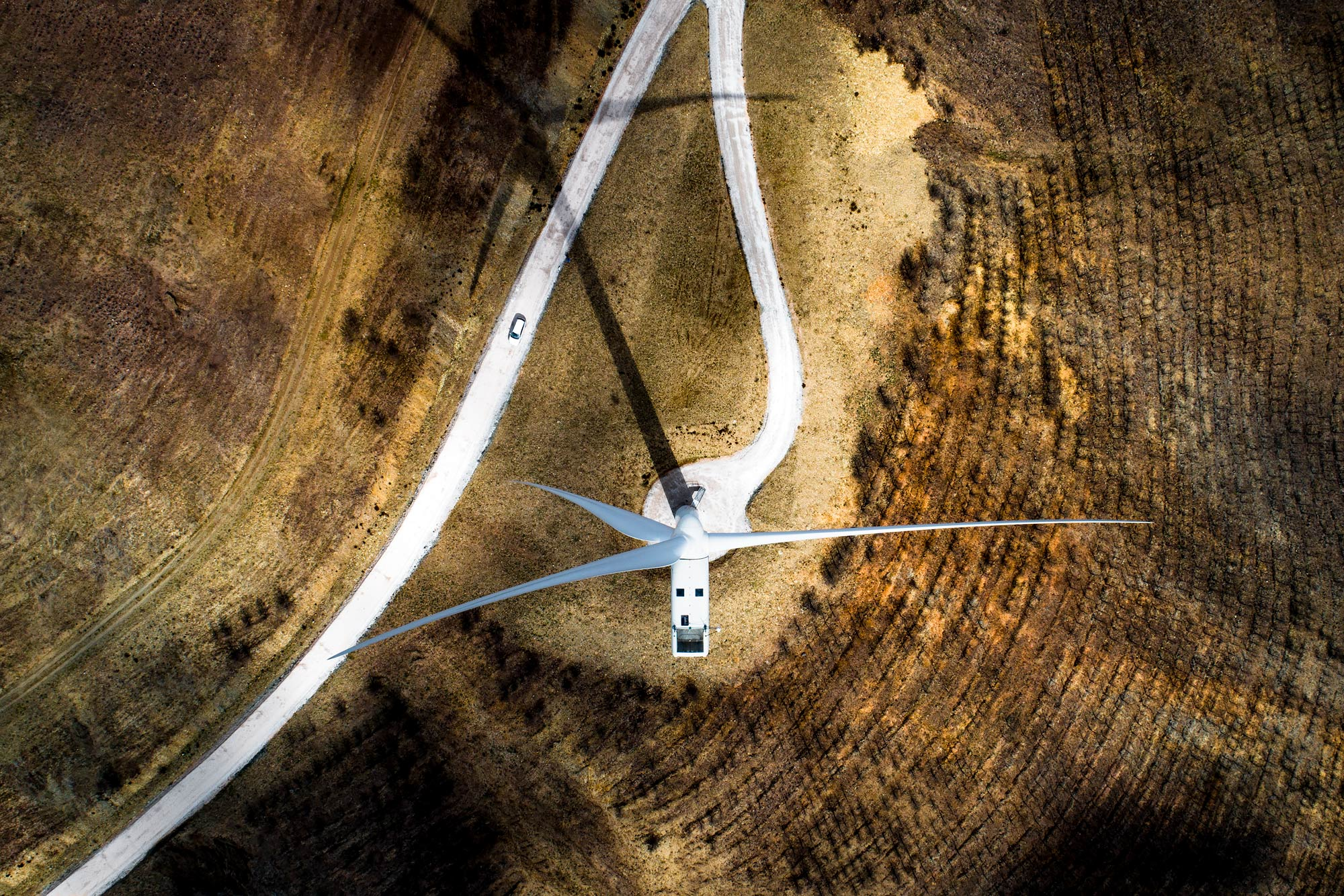 Sixty meter wind turbine from above aerial
